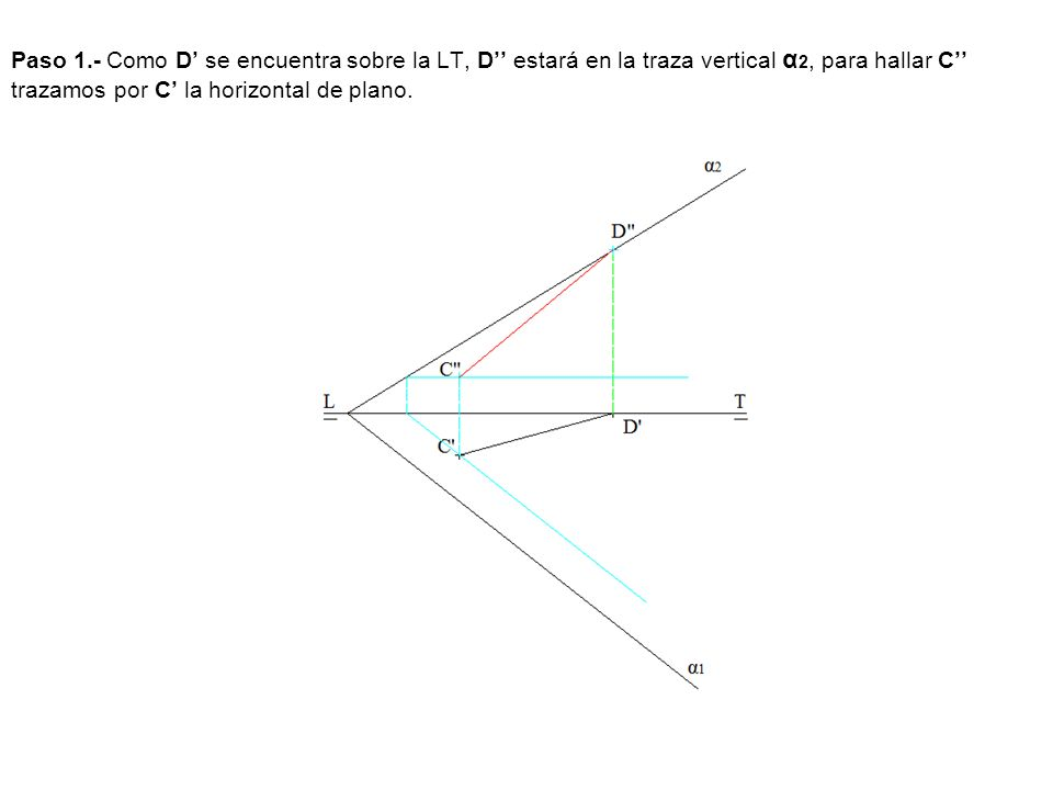 Paso 1.- Como D se encuentra sobre la LT, D estará en la traza vertical α 2, para hallar C trazamos por C la horizontal de plano.