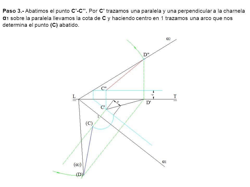 Paso 3.- Abatimos el punto C-C. Por C trazamos una paralela y una perpendicular a la charnela α 1 sobre la paralela llevamos la cota de C y haciendo c