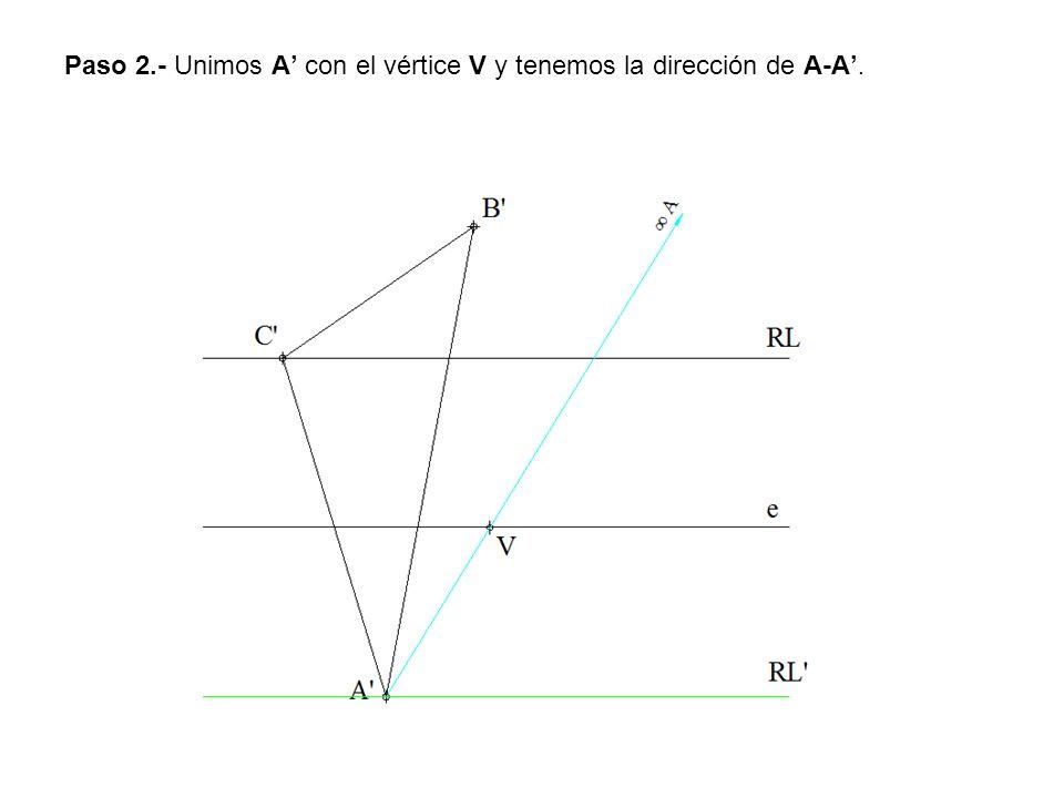Paso 2.- Unimos A con el vértice V y tenemos la dirección de A-A.