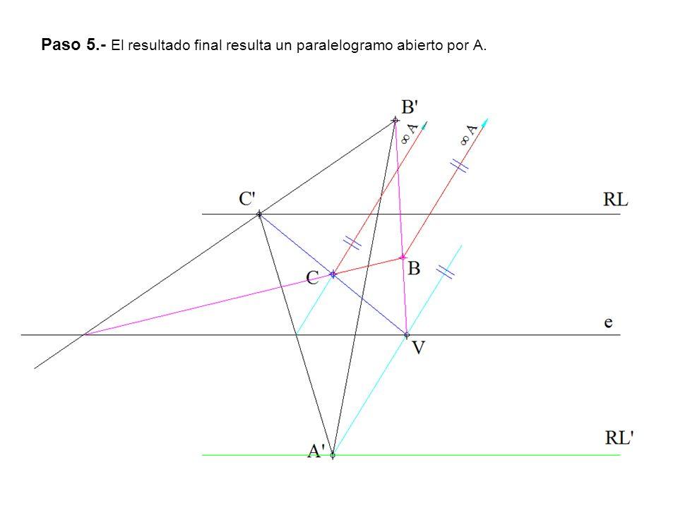 Paso 5.- El resultado final resulta un paralelogramo abierto por A.