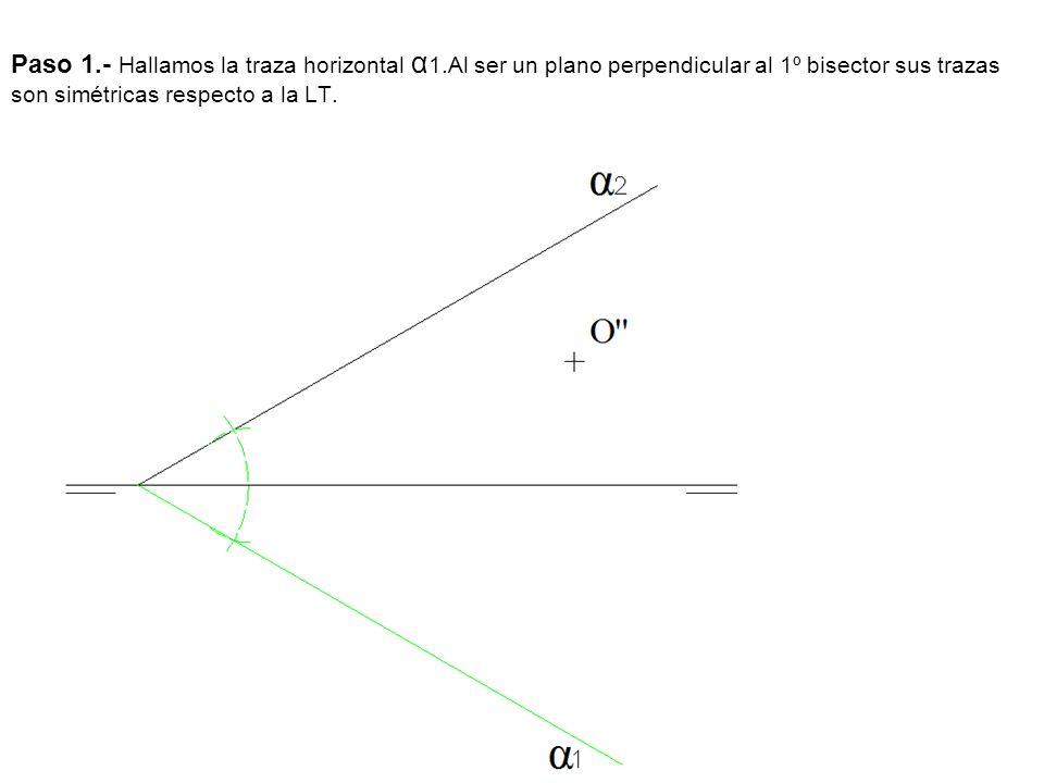 Paso 1.- Hallamos la traza horizontal α 1.Al ser un plano perpendicular al 1º bisector sus trazas son simétricas respecto a la LT.