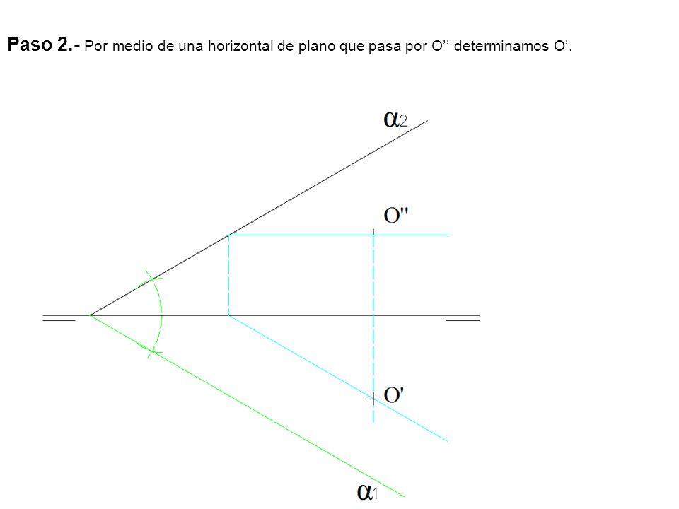 Paso 2.- Por medio de una horizontal de plano que pasa por O determinamos O.