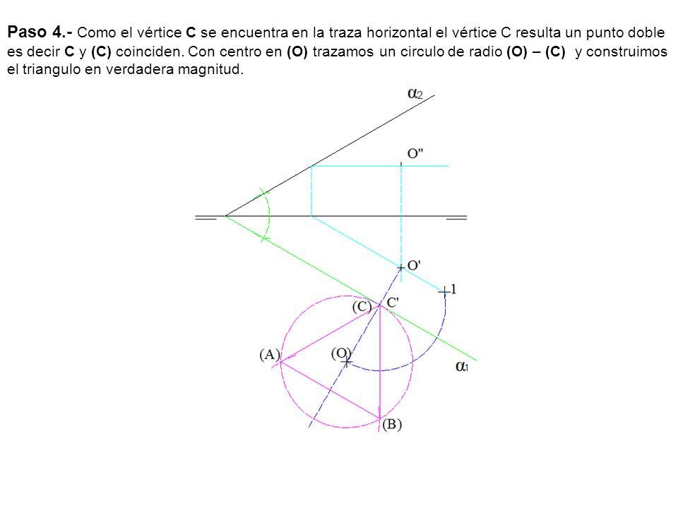 Paso 4.- Como el vértice C se encuentra en la traza horizontal el vértice C resulta un punto doble es decir C y (C) coinciden. Con centro en (O) traza