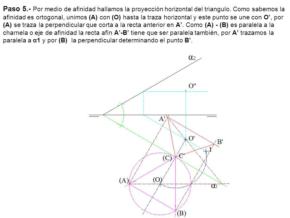 Paso 5.- Por medio de afinidad hallamos la proyección horizontal del triangulo. Como sabemos la afinidad es ortogonal, unimos (A) con (O) hasta la tra