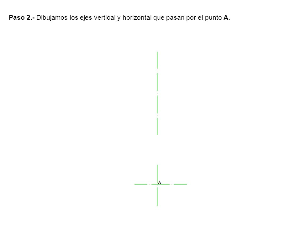 Paso 3.-Trazamos un eje paralelo al horizontal a una distancia de 60mm y otro paralelo al vertical a 30mm que determinan los punto B y C.