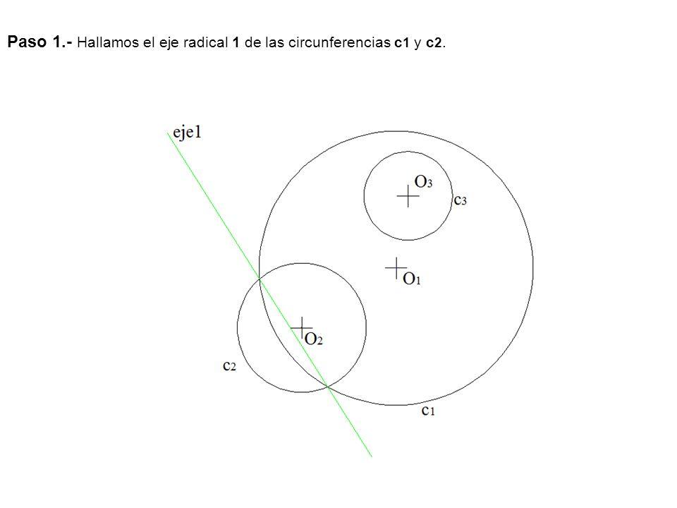 Paso 1.- Hallamos el eje radical 1 de las circunferencias c 1 y c 2.