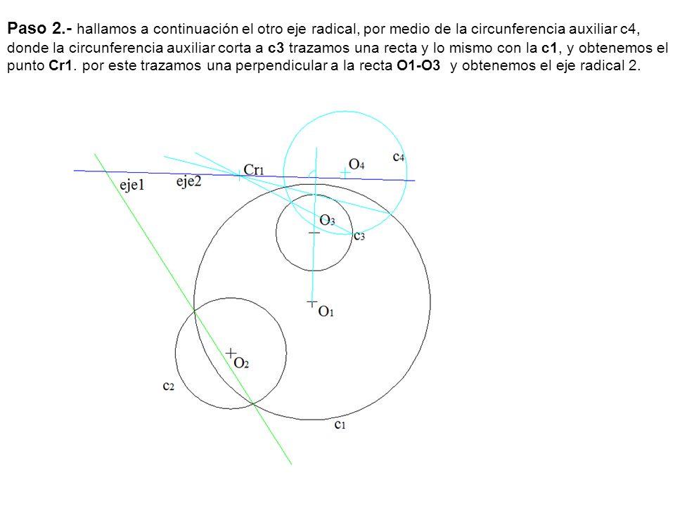 Paso 2.- hallamos a continuación el otro eje radical, por medio de la circunferencia auxiliar c4, donde la circunferencia auxiliar corta a c3 trazamos