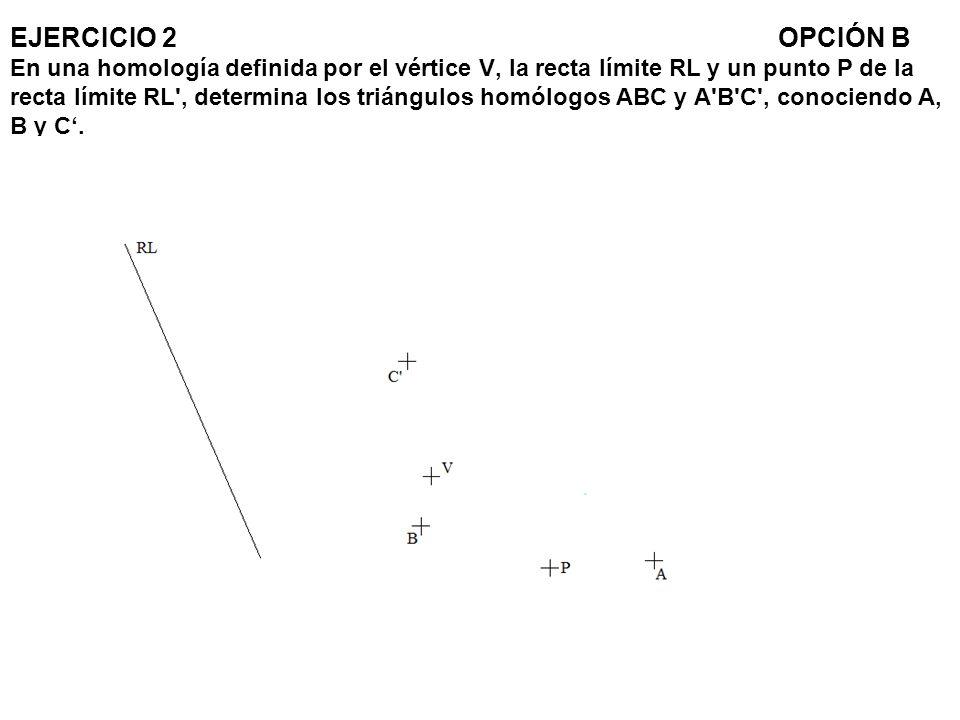 EJERCICIO 2OPCIÓN B En una homología definida por el vértice V, la recta límite RL y un punto P de la recta límite RL', determina los triángulos homól