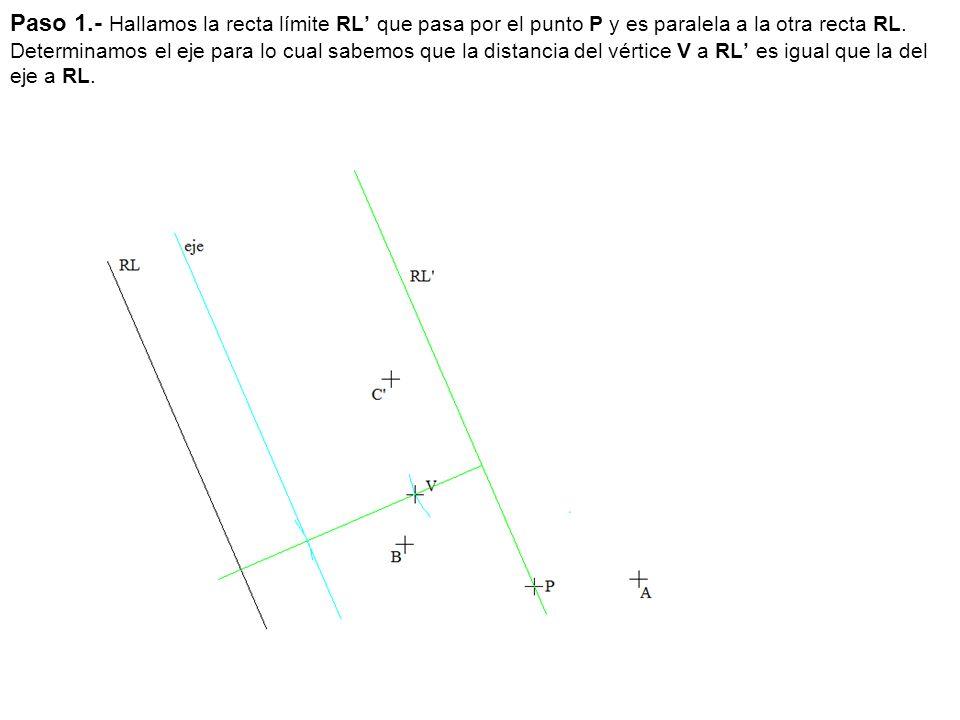Paso 1.- Hallamos la recta límite RL que pasa por el punto P y es paralela a la otra recta RL. Determinamos el eje para lo cual sabemos que la distanc