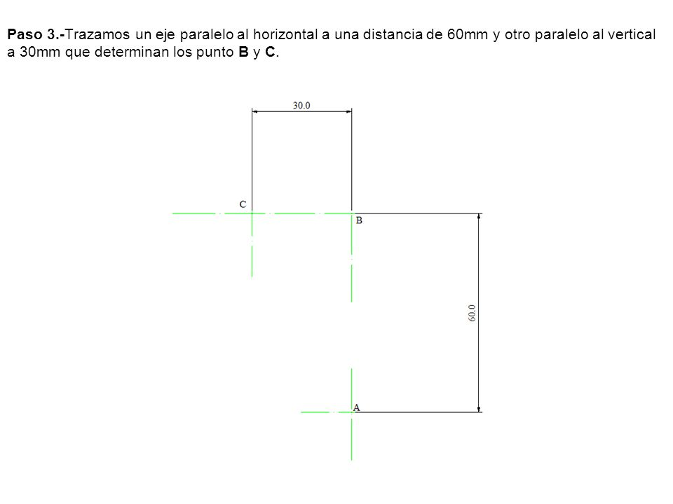 Paso 5.- Por V trazamos una paralela a A-B que corta a la prolongación de A-B punto por el que pasa la recta limite RL que es paralela al eje.
