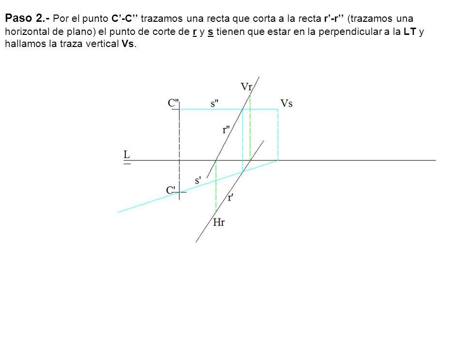 Paso 2.- Por el punto C-C trazamos una recta que corta a la recta r-r (trazamos una horizontal de plano) el punto de corte de r y s tienen que estar e