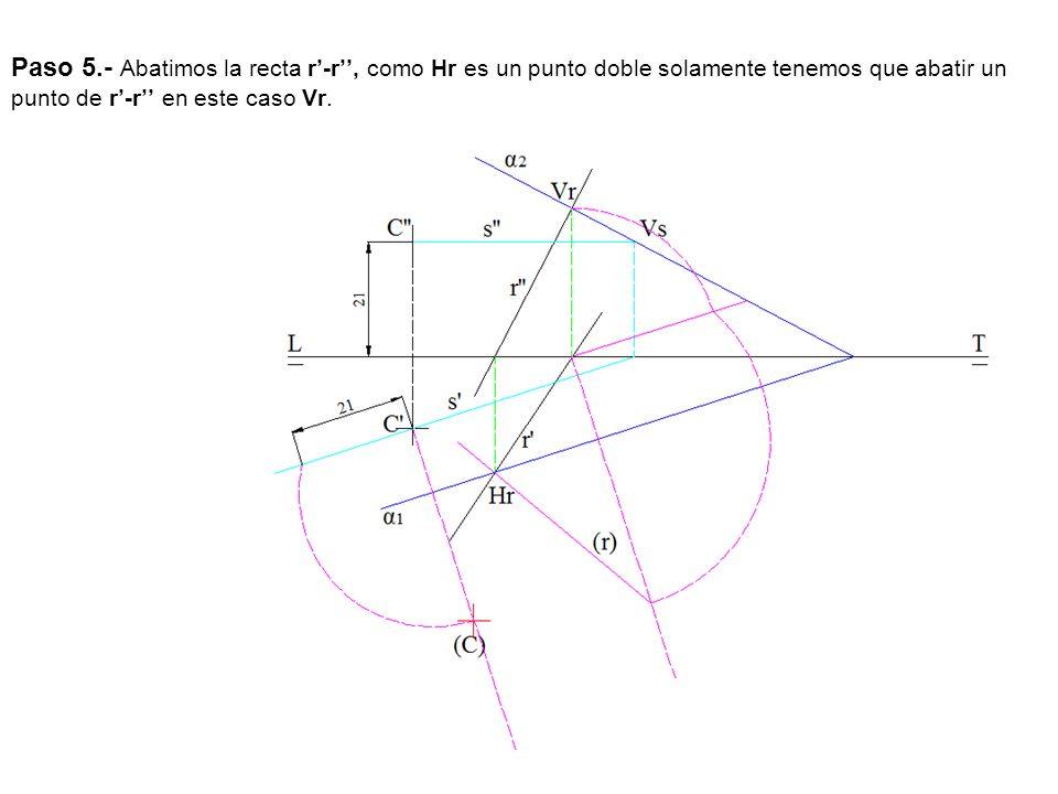 Paso 5.- Abatimos la recta r-r, como Hr es un punto doble solamente tenemos que abatir un punto de r-r en este caso Vr.