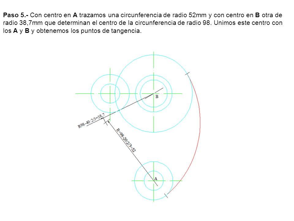 Paso 7.- Con centro en B trazamos una circunferencia de radio 21 mm y con centro en 1 y 3 otras de radio 11 mm que determinan los centros de las circunferencias, como los arcos se cortan en los ejes los puntos de tangencia también los determinan los ejes, con centro en los puntos de corte trazamos dos arcos de circunferencia tangentes a las circunferencia