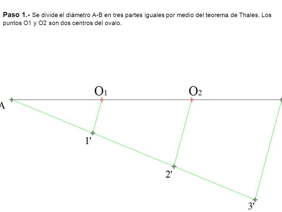 Paso 1.- Se divide el diámetro A-B en tres partes iguales por medio del teorema de Thales. Los puntos O1 y O2 son dos centros del ovalo.