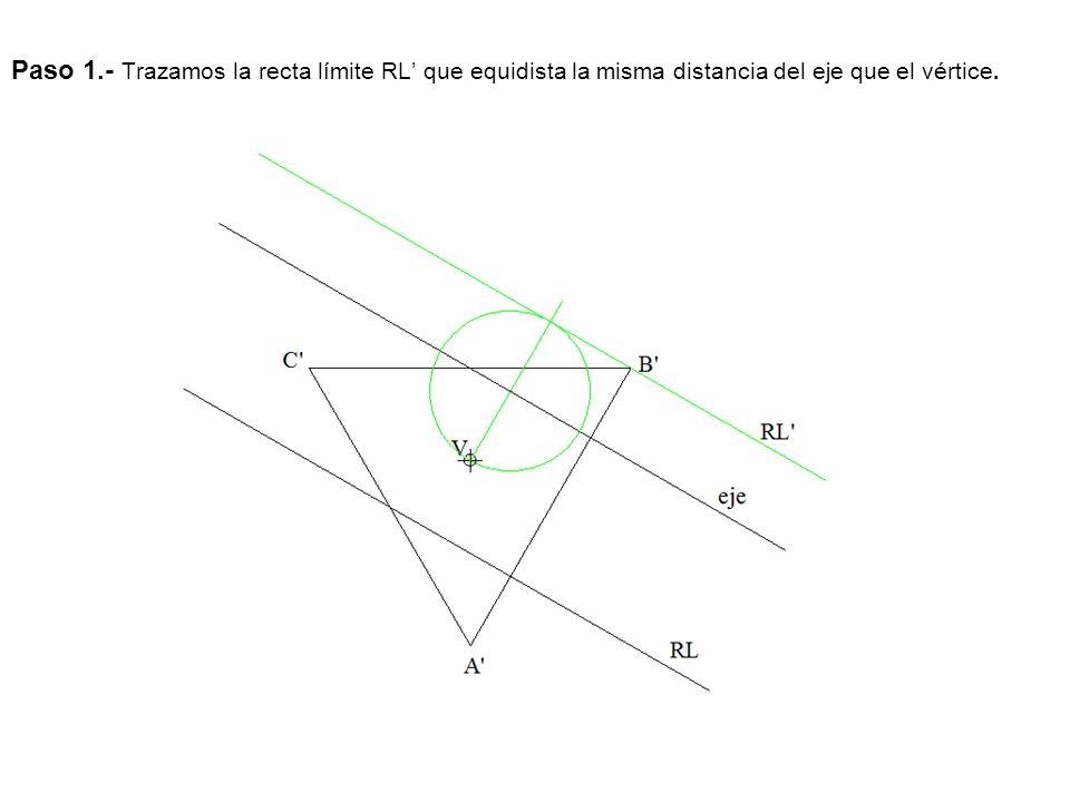 Paso 1.- Trazamos la recta límite RL que equidista la misma distancia del eje que el vértice.