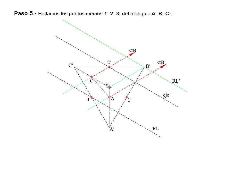 Paso 5.- Hallamos los puntos medios 1-2-3 del triángulo A-B-C.