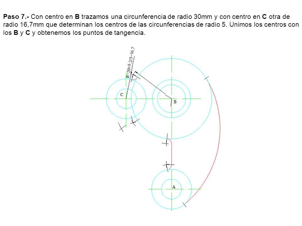 Paso 8.- Por el centro C y por el A trazamos unas perpendiculares a la recta que une los centros A y C que nos determinan los puntos de tangencia los unimos y tenemos la recta tangente dado que las circunferencia tienen el mismo radio.
