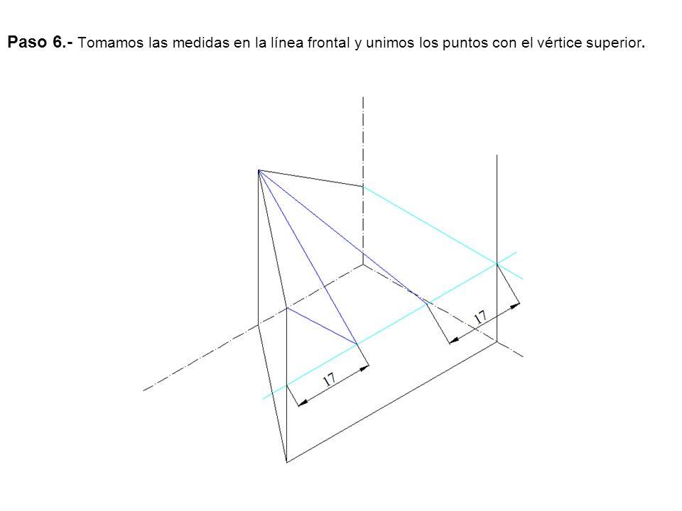 Paso 6.- Tomamos las medidas en la línea frontal y unimos los puntos con el vértice superior.