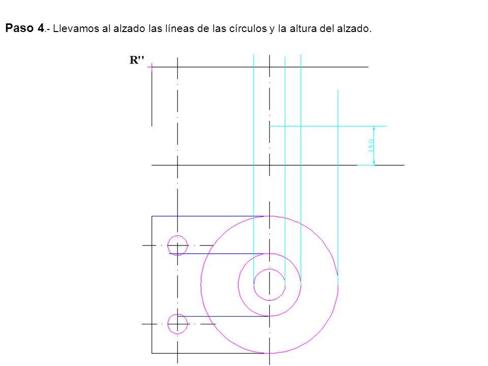 Paso 4.- Llevamos al alzado las líneas de las círculos y la altura del alzado.