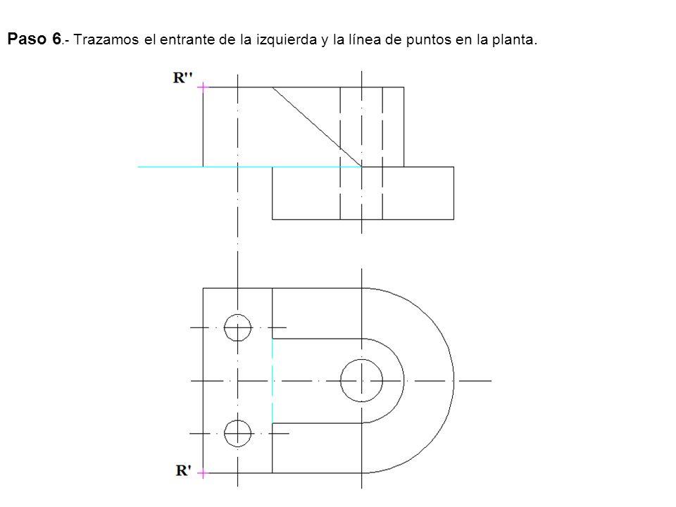 Paso 6.- Trazamos el entrante de la izquierda y la línea de puntos en la planta.