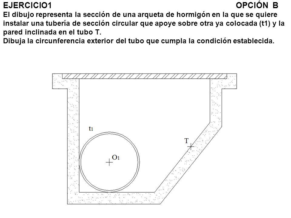 EJERCICIO1OPCIÓN B El dibujo representa la sección de una arqueta de hormigón en la que se quiere instalar una tubería de sección circular que apoye s