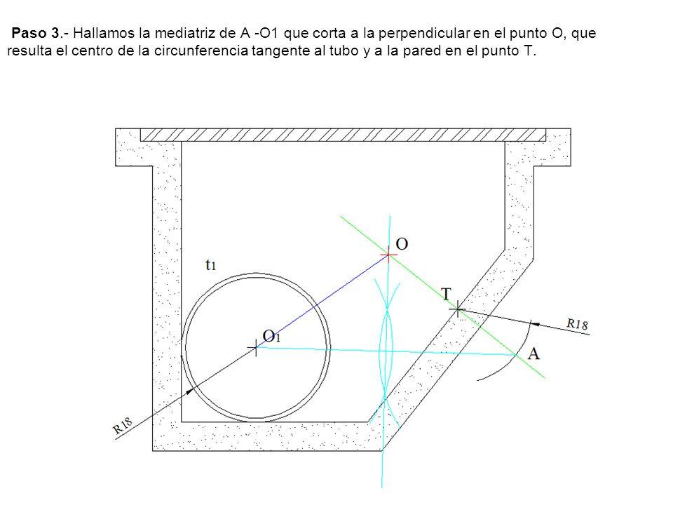 Paso 3.- Hallamos la mediatriz de A -O1 que corta a la perpendicular en el punto O, que resulta el centro de la circunferencia tangente al tubo y a la