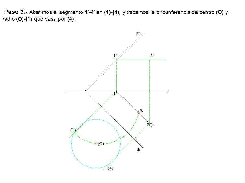 Paso 3.- Abatimos el segmento 1'-4' en (1)-(4), y trazamos la circunferencia de centro (O) y radio (O)-(1) que pasa por (4).