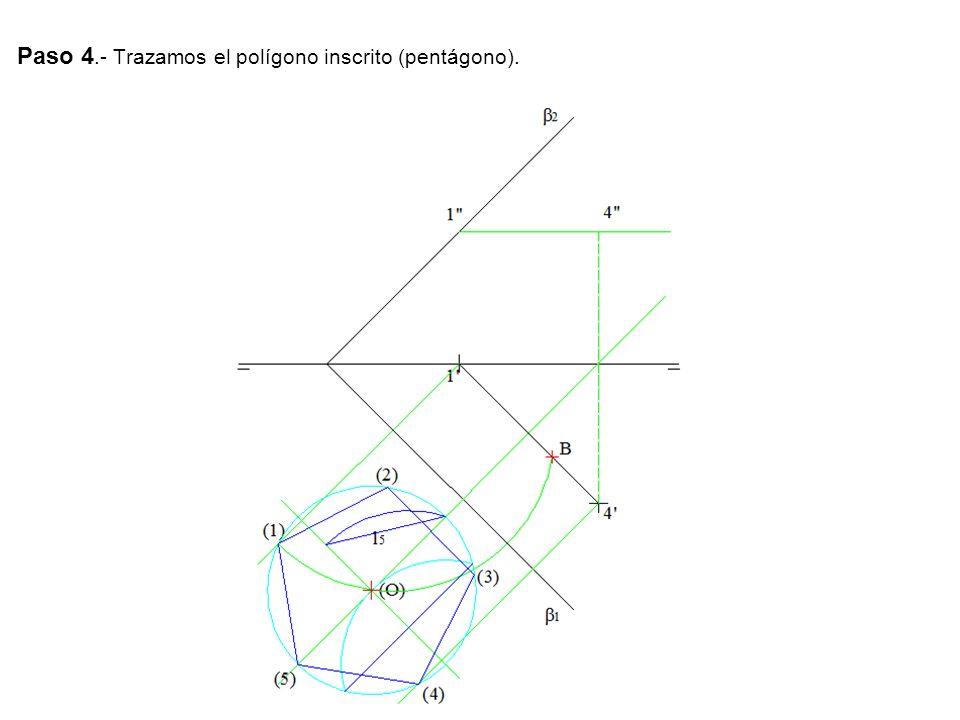 Paso 4.- Trazamos el polígono inscrito (pentágono).