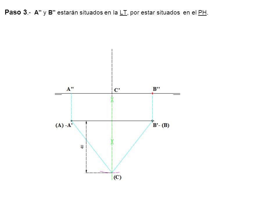 Paso 3.- A'' y B'' estarán situados en la LT, por estar situados en el PH.