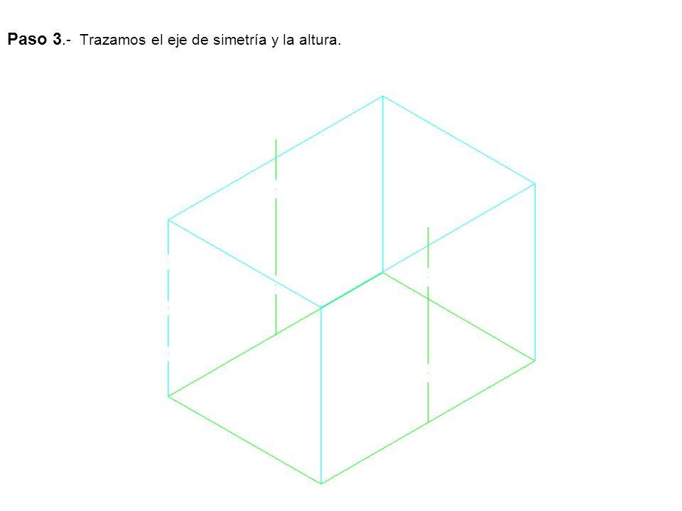Paso 3.- Trazamos el eje de simetría y la altura.