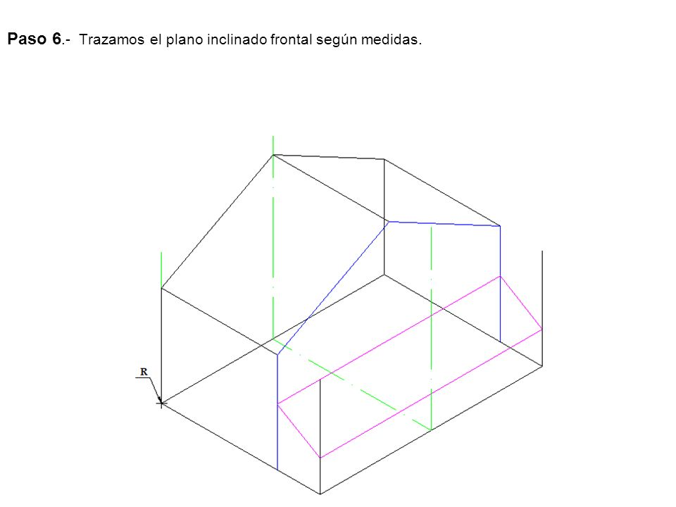Paso 6.- Trazamos el plano inclinado frontal según medidas.