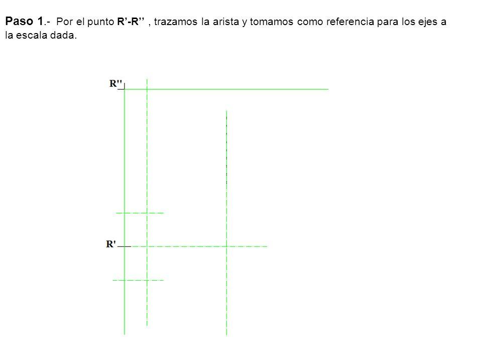 Paso 1.- Por el punto R-R, trazamos la arista y tomamos como referencia para los ejes a la escala dada.