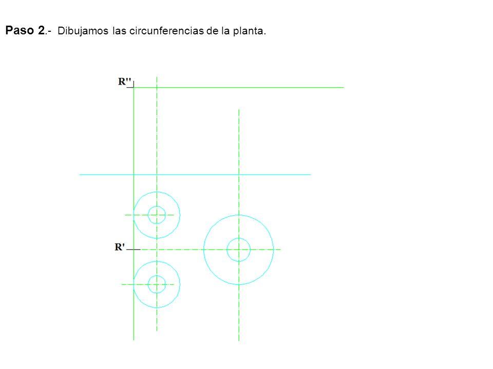 Paso 2.- Dibujamos las circunferencias de la planta.