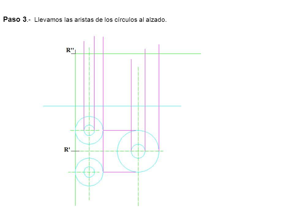 Paso 3.- Llevamos las aristas de los círculos al alzado.
