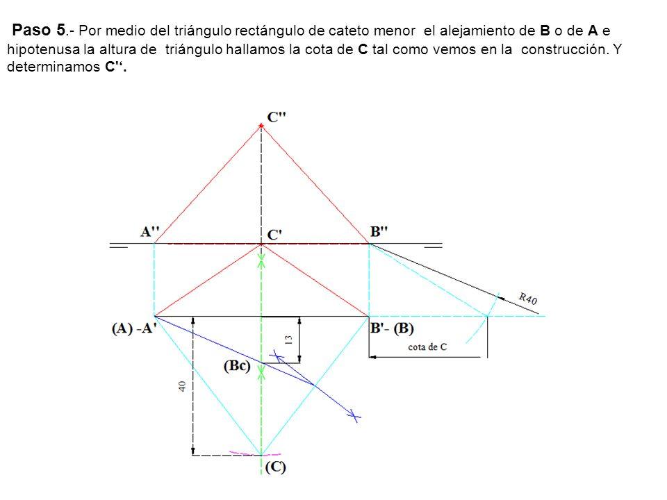Paso 5.- Por medio del triángulo rectángulo de cateto menor el alejamiento de B o de A e hipotenusa la altura de triángulo hallamos la cota de C tal c