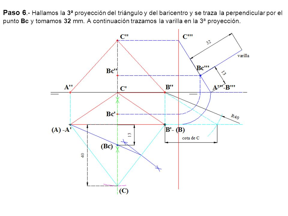 Paso 6.- Hallamos la 3ª proyección del triángulo y del baricentro y se traza la perpendicular por el punto Bc y tomamos 32 mm. A continuación trazamos