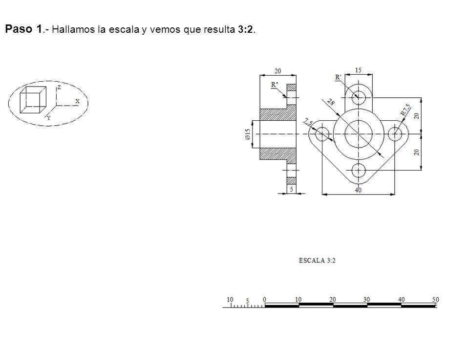 Paso 1.- Hallamos la escala y vemos que resulta 3:2.