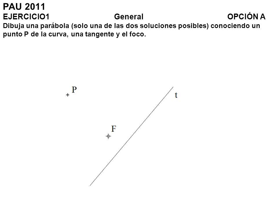 PAU 2011 EJERCICIO1General OPCIÓN A Dibuja una parábola (solo una de las dos soluciones posibles) conociendo un punto P de la curva, una tangente y el