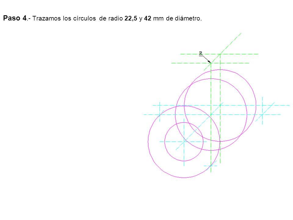 Paso 4.- Trazamos los círculos de radio 22,5 y 42 mm de diámetro.