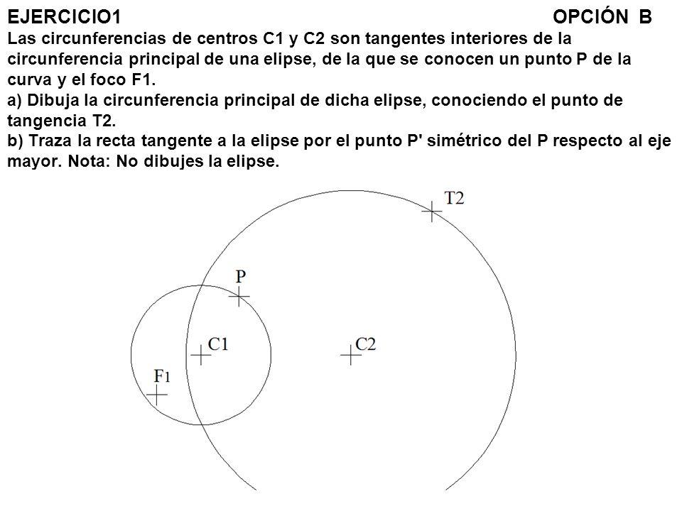 EJERCICIO1OPCIÓN B Las circunferencias de centros C1 y C2 son tangentes interiores de la circunferencia principal de una elipse, de la que se conocen
