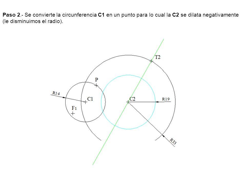 Paso 2.- Se convierte la circunferencia C1 en un punto para lo cual la C2 se dilata negativamente (le disminuimos el radio).