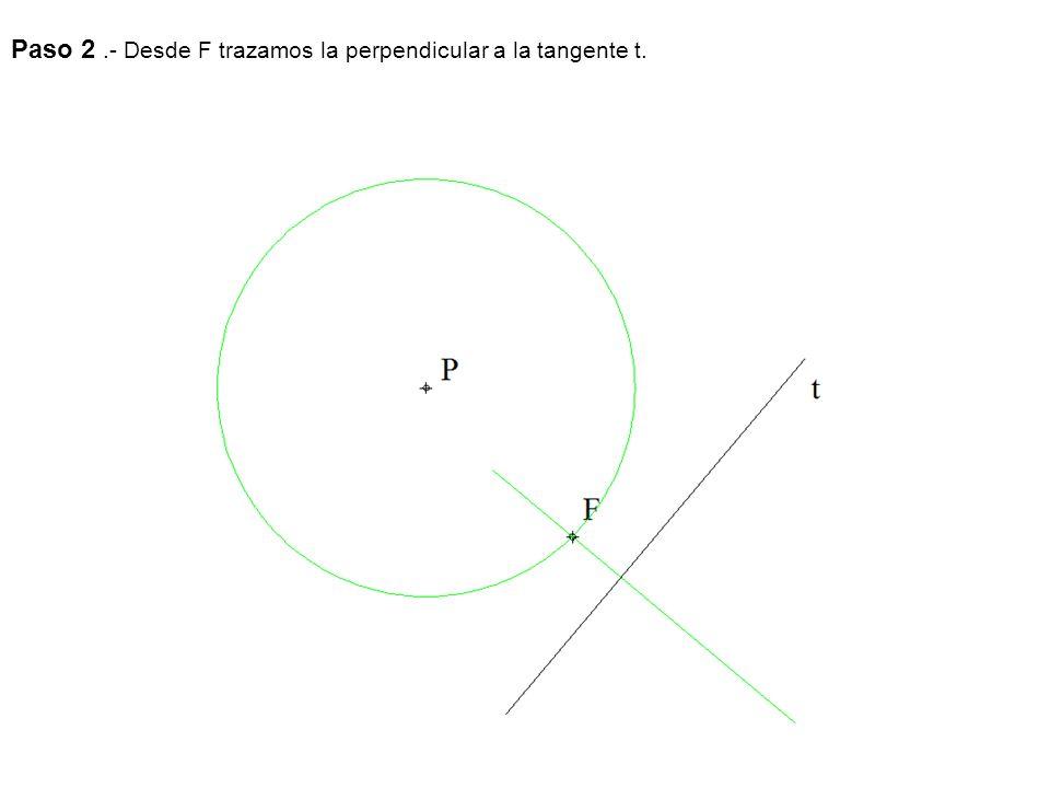 Paso 2.- Desde F trazamos la perpendicular a la tangente t.