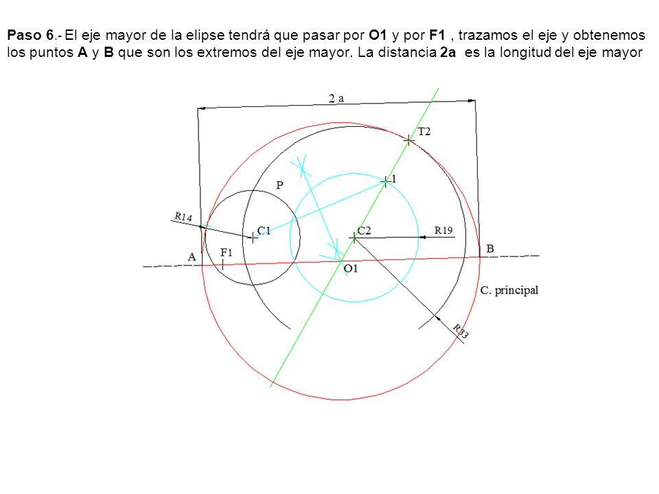 Paso 6.- El eje mayor de la elipse tendrá que pasar por O1 y por F1, trazamos el eje y obtenemos los puntos A y B que son los extremos del eje mayor.