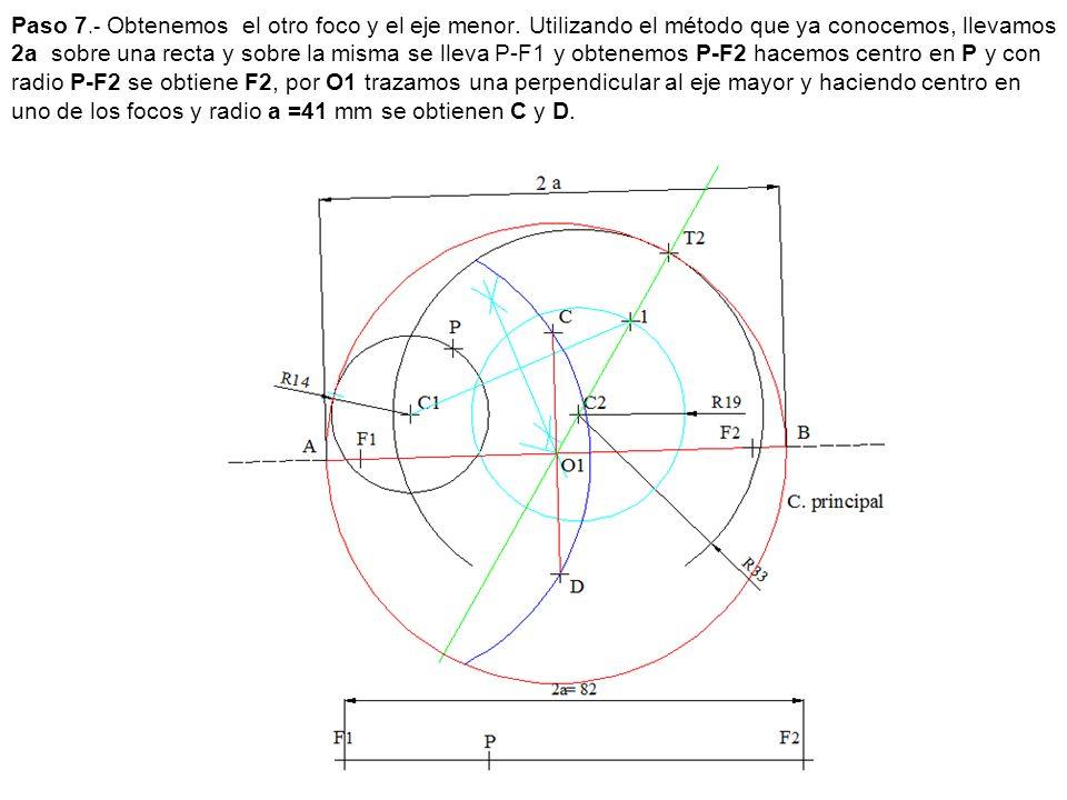 Paso 7.- Obtenemos el otro foco y el eje menor. Utilizando el método que ya conocemos, llevamos 2a sobre una recta y sobre la misma se lleva P-F1 y ob