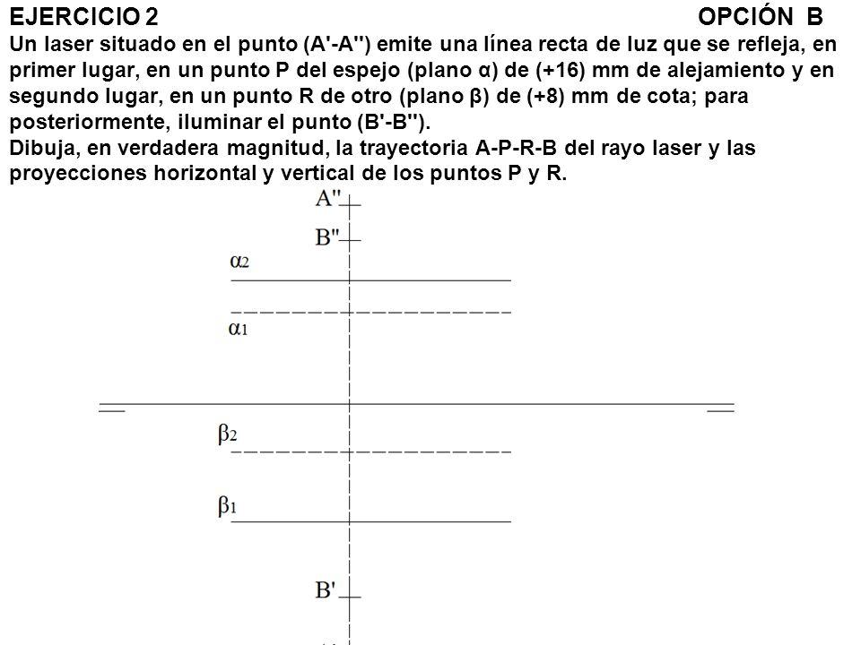 EJERCICIO 2OPCIÓN B Un laser situado en el punto (A'-A'') emite una línea recta de luz que se refleja, en primer lugar, en un punto P del espejo (plan