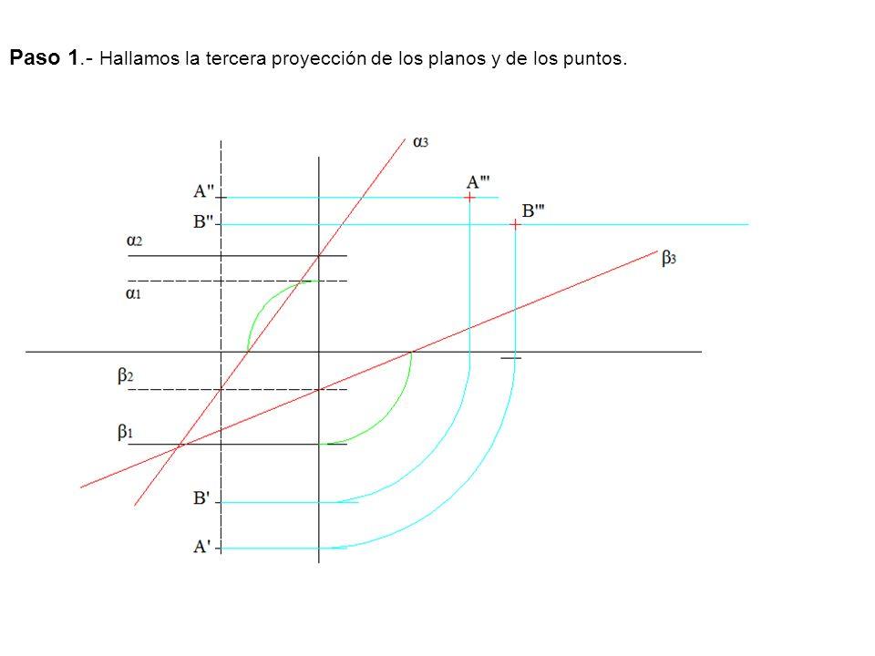 Paso 1.- Hallamos la tercera proyección de los planos y de los puntos.