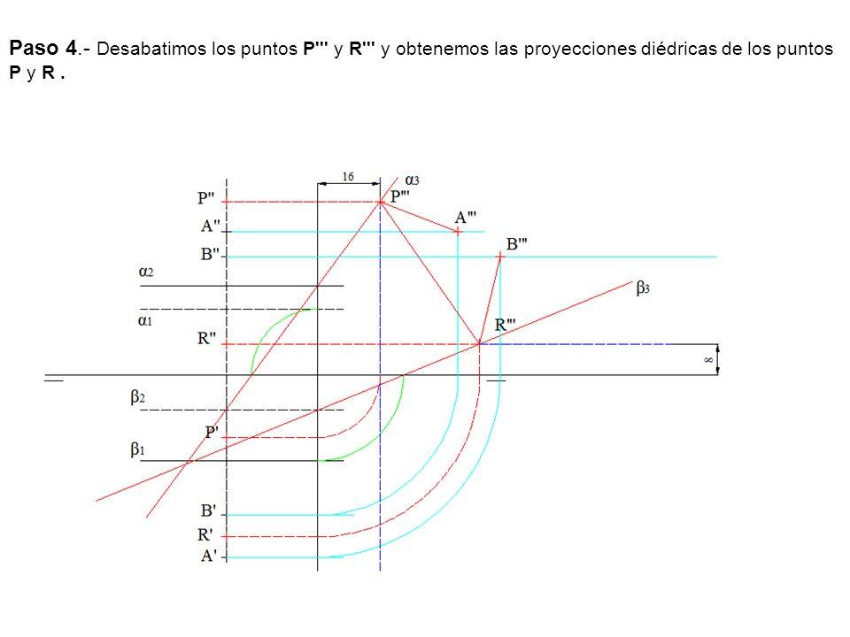 Paso 4.- Desabatimos los puntos P''' y R''' y obtenemos las proyecciones diédricas de los puntos P y R.