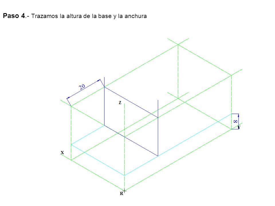 Paso 4.- Trazamos la altura de la base y la anchura