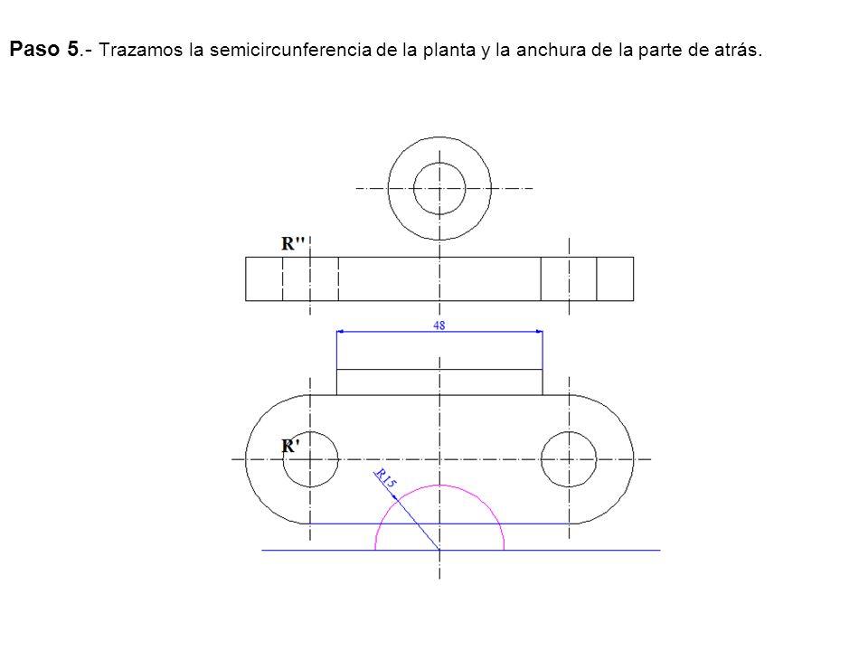 Paso 5.- Trazamos la semicircunferencia de la planta y la anchura de la parte de atrás.