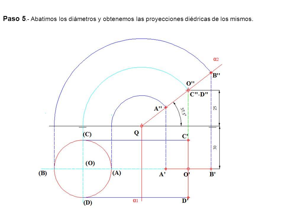 Paso 5.- Abatimos los diámetros y obtenemos las proyecciones diédricas de los mismos.
